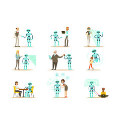 Smiling people and robot assistant set of vector