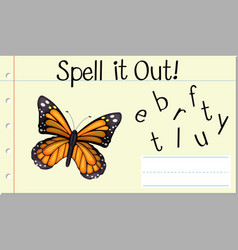 Spell english word butterfly vector