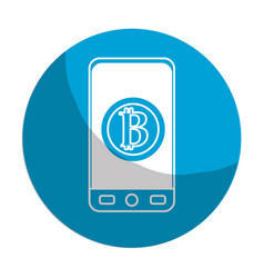 Sticker smartphone with bitcoin currency symbol vector
