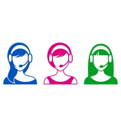 Support or call center woman icons vector image