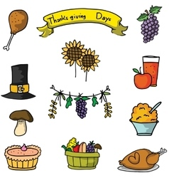 Thanksgiving set food on doodles vector