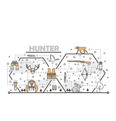 thin line art hunter poster banner template vector image