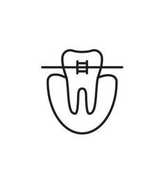 thin line icon dental braces vector image