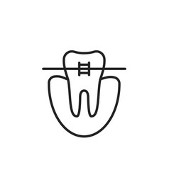 Thin line icon of dental braces vector