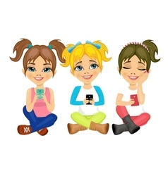 Three cute little girls using their smartphones vector