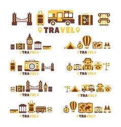 Travel Symbols Set By Five In Line Collection Of vector image