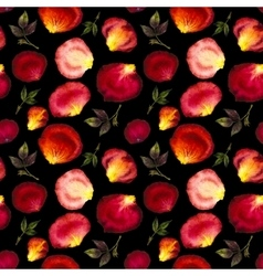 Watercolor seamless pattern of pink and red petals vector