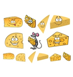 Wedges of happy cartoon cheese with a mouse vector