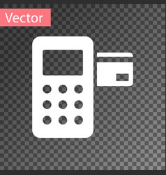 white pos terminal with inserted credit card icon vector image