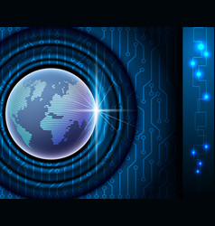 world network connection conceptelectronic blue vector image