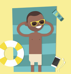 Young black character lying on the beach top view vector