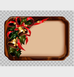 wooden christmas empty photoframe with bells and vector image vector image
