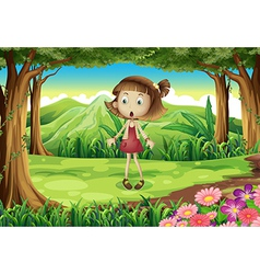 A shocked young girl in the middle of the forest vector image vector image