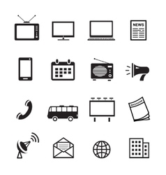 Advertising media silhouette icons marketing and vector image