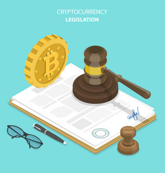 cryptocurrency legislation flat isometric vector image vector image
