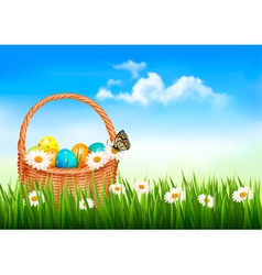 Easter background Easter eggs and flowers in a vector image