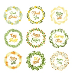 Easter wreaths with plants and flowers vector image vector image