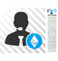 ethereum operator manager flat icon with bonus vector image vector image