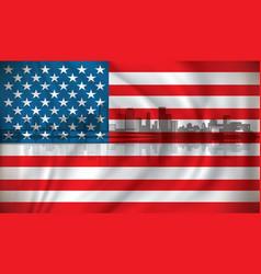 flag of usa with miami skyline vector image vector image