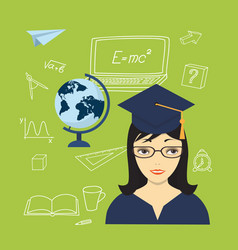 Girl in the academic cap globe and hand drawn vector