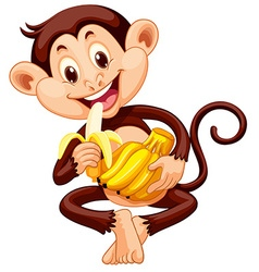Little monkey eating banana vector image