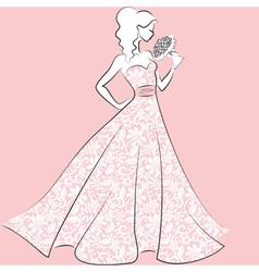bride in lace wedding dress vector image vector image