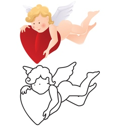 Cartoon angel color and outline vector image vector image