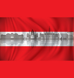 flag of austria with vienna skyline vector image vector image