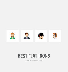 flat icon call set of operator telemarketing vector image