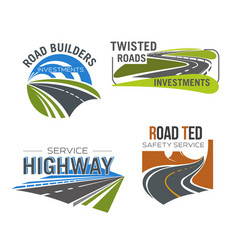 road highway freeway and mountain pass icon set vector image