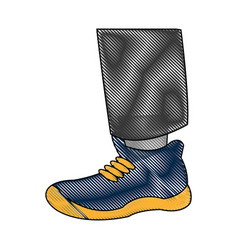 drawing foot with blue shoe sport vector image vector image