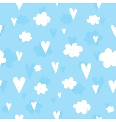 Hearts and clouds seamless pattern vector image vector image
