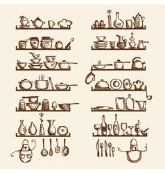 Kitchen utensils vector image