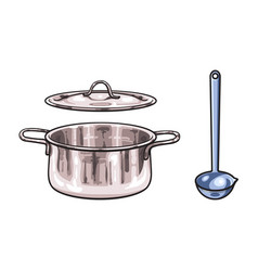 metal pot ladle sketch cartoon isolated vector image