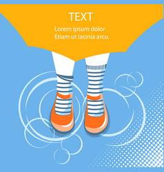 rain backgroundtop view of girl feet under vector image vector image