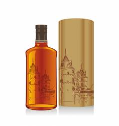 whiskey bottle and box vector image vector image