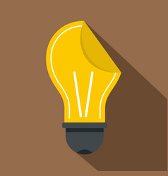 yellow bulb sticker icon flat style vector image vector image