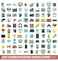 100 communication goods icons set flat style vector image