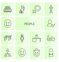 14 people icons vector