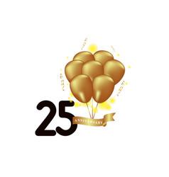 25 year anniversary black gold balloon template vector
