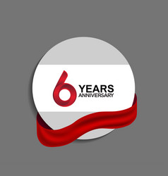 6 years anniversary design in circle red ribbon vector