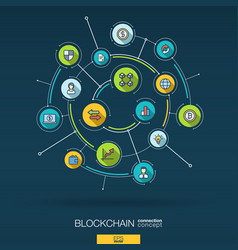 abstract blockchain crypto fintech background vector image