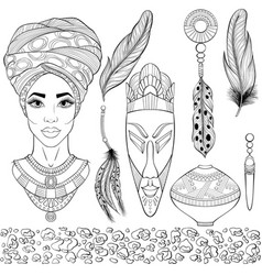 African ethnic beauty set vector