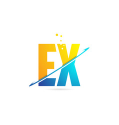 Alphabet letter ex e x combination for logo vector