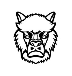 angry alpaca or llama head mascot black and white vector image