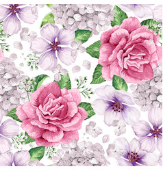 Apple tree roses hydrangea flowers petals and vector
