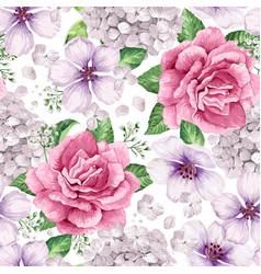 Apple tree roses hydrangea flowers petals vector