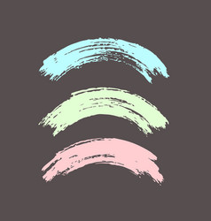 Arched brush strokes colorful in pastel colors vector