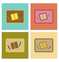 assembly flat icons notebook pencil table vector image