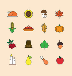 Autumn icons set thanksgiving day autumn vector